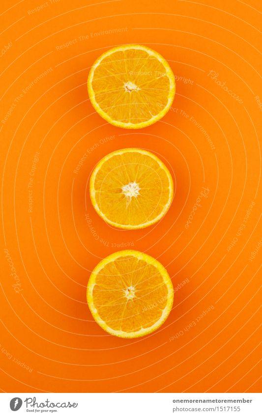 Jammy Orangen-Dreier auf Orange Kunst Kunstwerk ästhetisch orange 3 gestalten Dekoration & Verzierung Design aufgeschnitten mehrfarbig knallig Kreativität