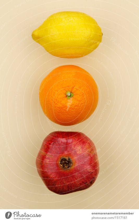 Jammy Zitrone Orange Granatapfel Verlauf Kunst Kunstwerk ästhetisch Frucht Auswahl beige lecker Gesunde Ernährung vitaminreich gelb rot Farbfoto mehrfarbig