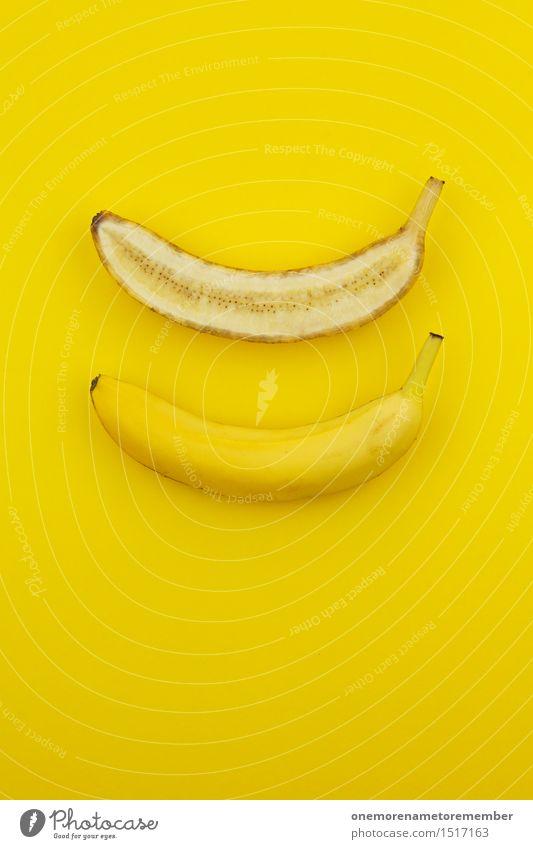 Jammy Bananenhälften auf Gelb Kunst Kunstwerk ästhetisch Bananenplantage Bananenmagazin gelb Gelbstich Teilung Hälfte Frucht Gesundheit Gesunde Ernährung lecker