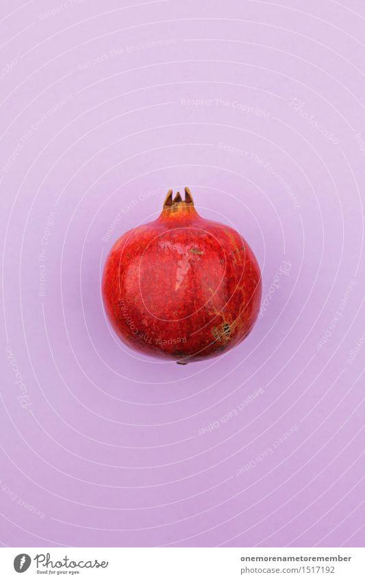 Jammy Granatapfel auf Lila Gesunde Ernährung rot Kunst Frucht Design Dekoration & Verzierung ästhetisch Güterverkehr & Logistik violett lecker Bioprodukte Ernte Kunstwerk knallig gestalten Hülle