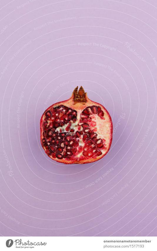 Jammy Granatapfelhälfte auf Lila rot Kunst Design ästhetisch violett lecker exotisch Kunstwerk Snack vitaminreich Abtrennung Kammer Südfrüchte Snackbar