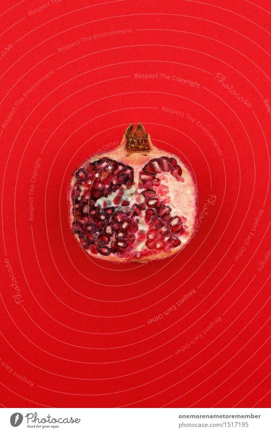 Jammy Granatapfel auf Rot Kunst Kunstwerk ästhetisch Frucht exotisch Südfrüchte Kammer vitaminreich Vitamin C Erkältung rot Design gestalten mehrfarbig knallig