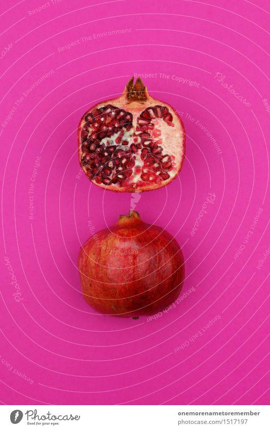 Jammy Granatapfeldoppel auf Magenta Kunst Kunstwerk ästhetisch Hälfte Frucht magenta rosa lecker Gesunde Ernährung Gesundheit rot vitaminreich