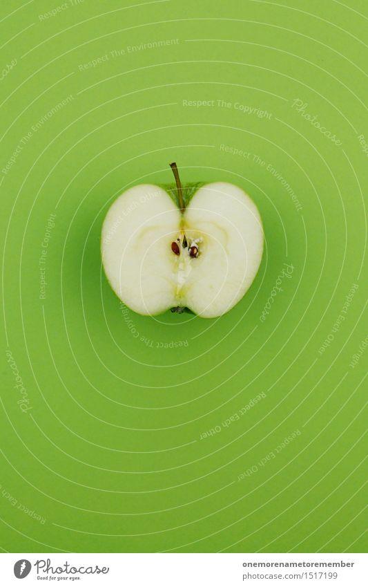 Jammy Apfel auf Grün Kunst Kunstwerk ästhetisch Apfelbaum Apfel der Erkenntnis Apfelernte Apfelsaft Apfelschale Apfelplantage Apfelkompott Hälfte vitaminreich