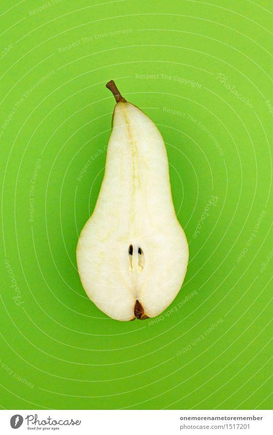Jammy Halbbirne auf Grün Kunst Kunstwerk ästhetisch Birne Glühbirne Birnenstiel grün Gesunde Ernährung Gesundheit vitaminreich Teilung Frucht lecker