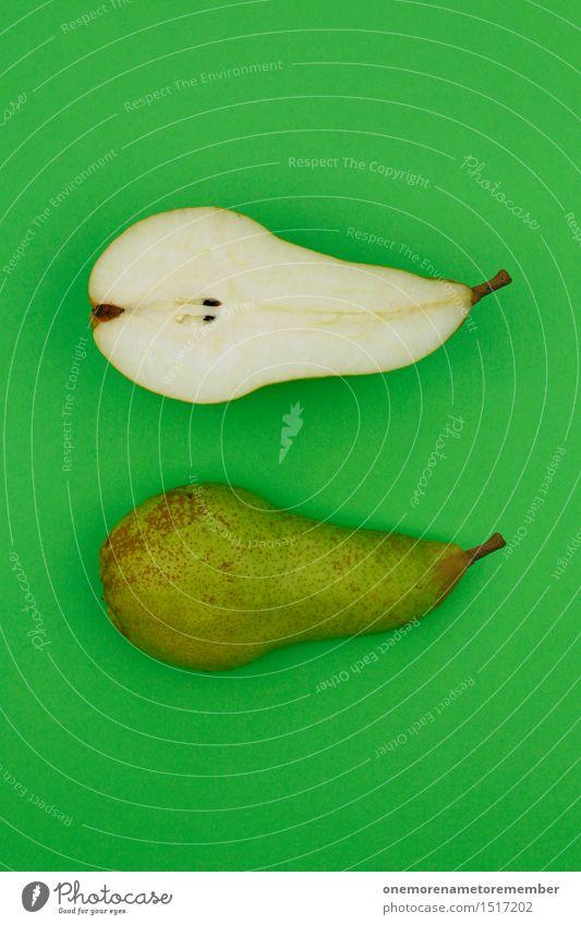 Jammy Birnenhälften auf Grün Kunst Kunstwerk ästhetisch Glühbirne Birnenstiel grün Hälfte Gesunde Ernährung lecker Appetit & Hunger vitaminreich Snack Snackbar
