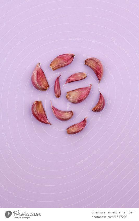 Jammy Knoblauch auf Lila Kunst Kunstwerk ästhetisch Symmetrie Knoblauchzehe Knoblauchknolle rot violett lecker Gesundheit Gesunde Ernährung Kräuter & Gewürze