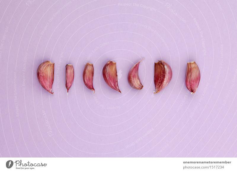 Jammy Knoblauchreihe auf Lila Kunst Kunstwerk ästhetisch Küche Knoblauchzehe Knoblauchknolle Reihe Symmetrie Design Foodfotografie lecker Würzig