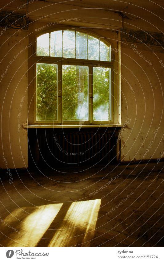 Ausblick Haus Villa Fenster Licht altmodisch Leerstand Raum Häusliches Leben Zeit Vergänglichkeit Klassik Ornament Nostalgie Jahrhundert verfallen Einsamkeit