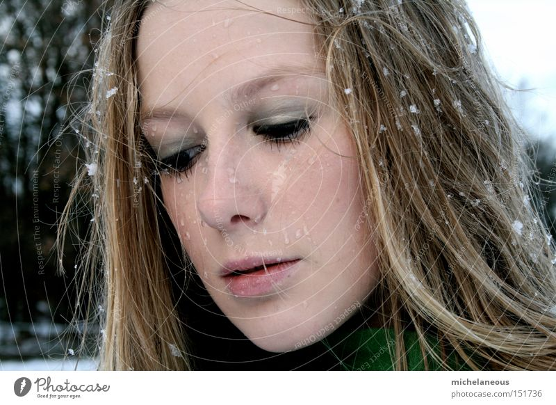 zeig dich schön Winter Gesicht Schnee nass Sehnsucht Mantel Flocke