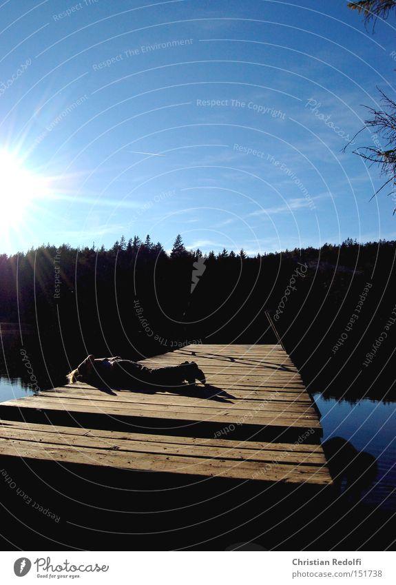 See Teich Wasser Steg Sonne Herbst Sommer Gewässer Erholung Natur Landschaft 1a 9 ruhig