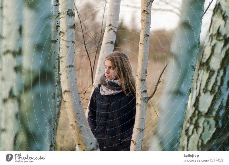 am waldrand Mädchen Leben Haare & Frisuren Gesicht 1 Mensch Umwelt Natur Landschaft Pflanze Tier Baum Wald Blick Birkenwald Kindheit Zukunft nachhaltig Farbfoto