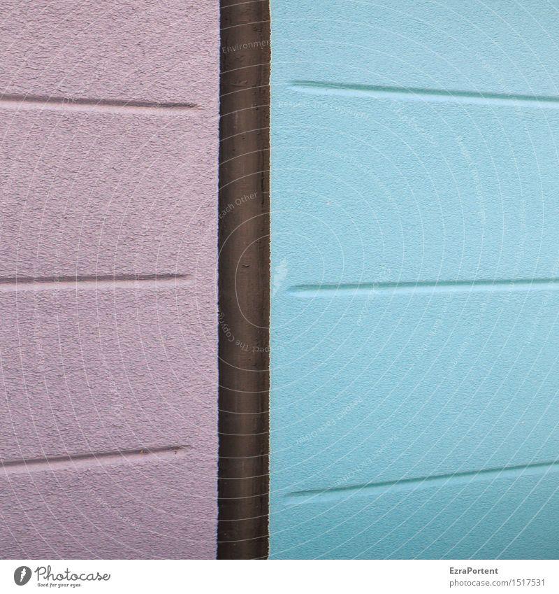 _ | - Haus Bauwerk Gebäude Mauer Wand Fassade Beton Linie Streifen blau violett Design Farbe Grafik u. Illustration Grafische Darstellung graphisch Putz