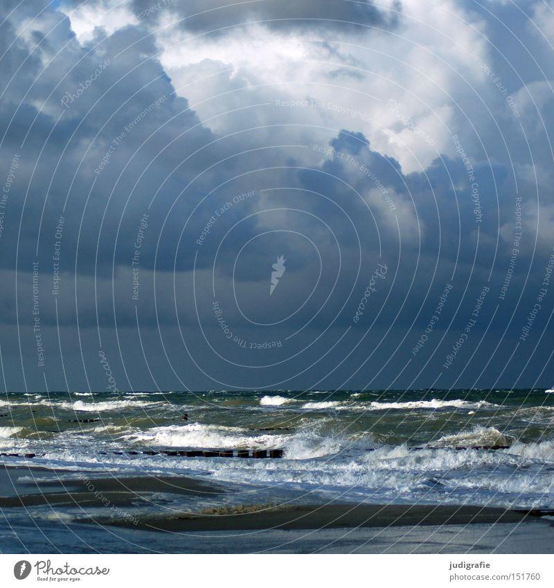 Abschied und Ankunft Ostsee Meer See Strand Himmel Wolken Unwetter Sturm Ahrenshoop Erholung Natur Küste Wellen Gischt Wasser dramatisch kalt Herbst Winter