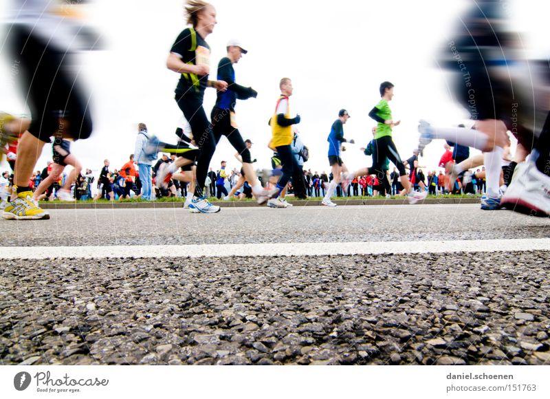 Freiburgmarathon aus der Sicht eines Regenwurms Freude Leichtathletik Straße Sport Bewegung Beine Gesundheit laufen Geschwindigkeit Laufsport Perspektive Mensch