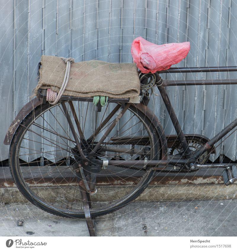 Schöner Sattelschoner Straße Fahrrad Metall alt außergewöhnlich braun grau rosa parken historisch Oldtimer altehrwürdig Fahrradsattel Fahrradständer