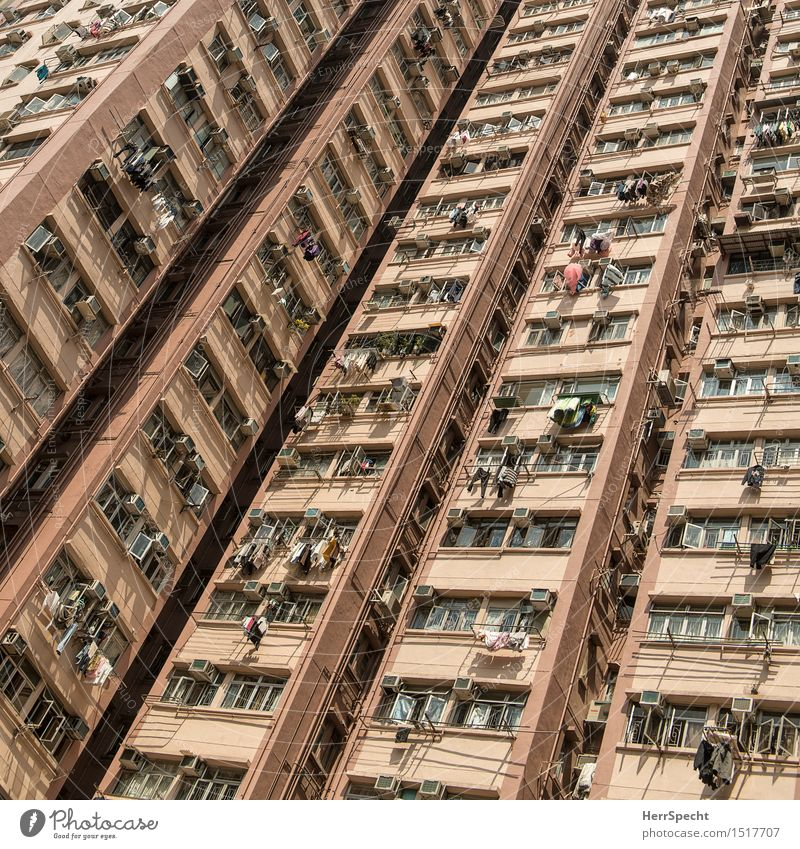 Käfighaltung Häusliches Leben Hongkong Stadtzentrum Skyline Bauwerk Gebäude Architektur Fassade Fenster exotisch hoch trist viele Wohnhochhaus Wohnsiedlung