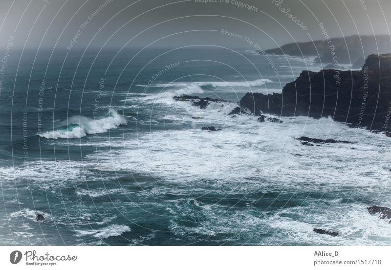 Wilde Atlantik Küste in Portugal Umwelt Natur Landschaft Urelemente Wasser Horizont schlechtes Wetter Sturm Felsen Wellen Bucht Meer Küstenlandschaft