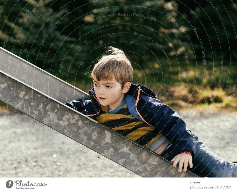 ruutsch Freude Spielen Mensch maskulin Kind Junge Kindheit 1 3-8 Jahre Natur Herbst Winter Baum Park Spielplatz Jeanshose Pullover brünett blond Rutsche