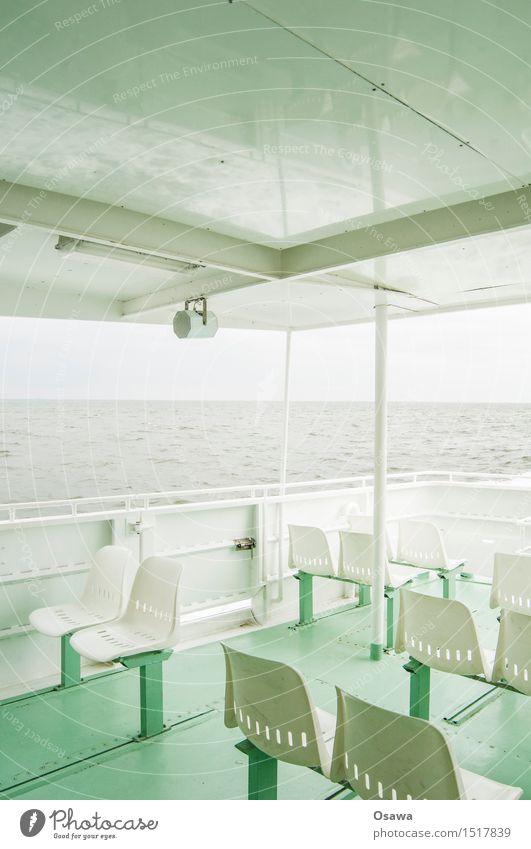 Fähre Himmel Ferien & Urlaub & Reisen grün weiß Meer Wolken Ferne grau Wasserfahrzeug Ausflug Horizont Wetter Wellen Wind Insel Sommerurlaub