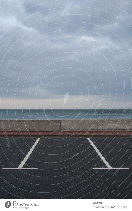 Amrum / Parkplatz Himmel Natur Wasser Landschaft Meer Wolken Küste Mauer Horizont Insel leer Beton Urelemente Hafen Nordsee