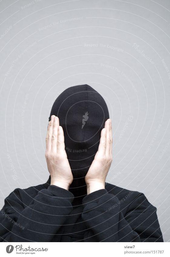 bestürzt Gesicht Mensch maskulin Mann Erwachsene 1 Stoff Maske Beratung berühren Denken entdecken machen Blick Traurigkeit Wut Freude Neugier Überraschung Angst