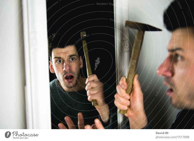 angst vor sich selbst Mensch Jugendliche Mann Junger Mann Gesicht Erwachsene Leben Gefühle Lifestyle Kunst maskulin Häusliches Leben Angst authentisch verrückt