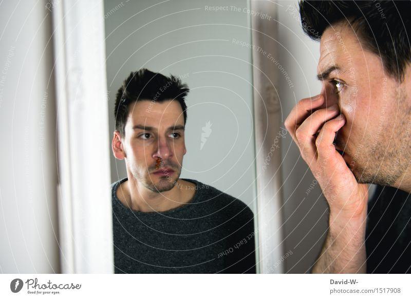 Blick in die Zukunft... ich hoffe nicht Mensch Jugendliche Mann Junger Mann Erwachsene Leben Traurigkeit Gefühle Gesundheit Kunst Gesundheitswesen maskulin