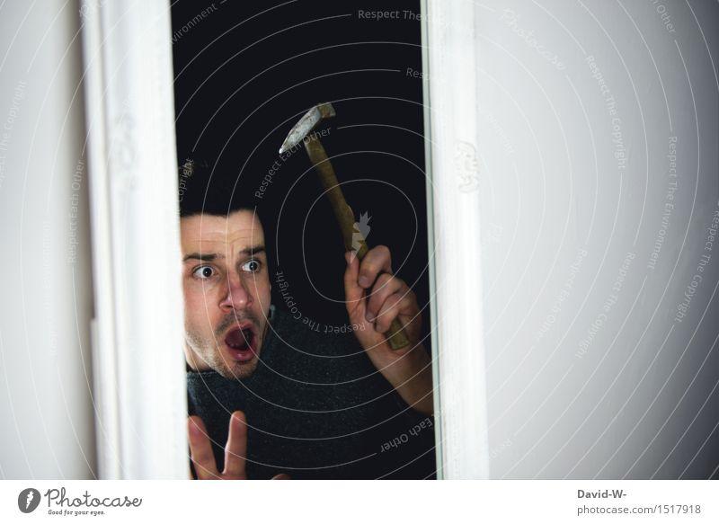 gefangen...lass mich raus! Lifestyle Behandlung Häusliches Leben Mensch maskulin Junger Mann Jugendliche Erwachsene 1 Kunst Künstler beobachten schreien