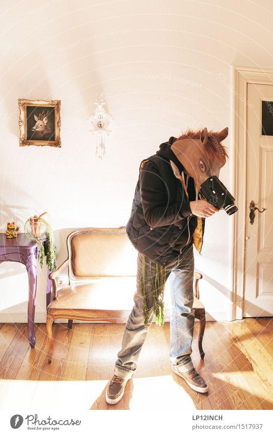 LP.HORSEMAN. XIX Häusliches Leben Wohnung Karneval Halloween Kameramann Videokamera Technik & Technologie maskulin Mann Erwachsene 1 Mensch Pferd Tier