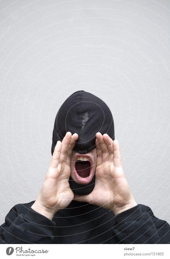laut: Mann Hand Gesicht sprechen Mund Kraft Erwachsene Kommunizieren Lippen Maske Information Stoff Wut Neugier machen schreien