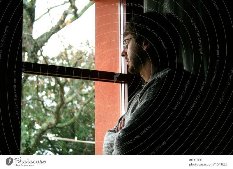 verlorene Gedanken Farbfoto Innenaufnahme Nahaufnahme Schatten Oberkörper Wegsehen Mensch maskulin Mann Erwachsene 1 18-30 Jahre Jugendliche Baum Fenster