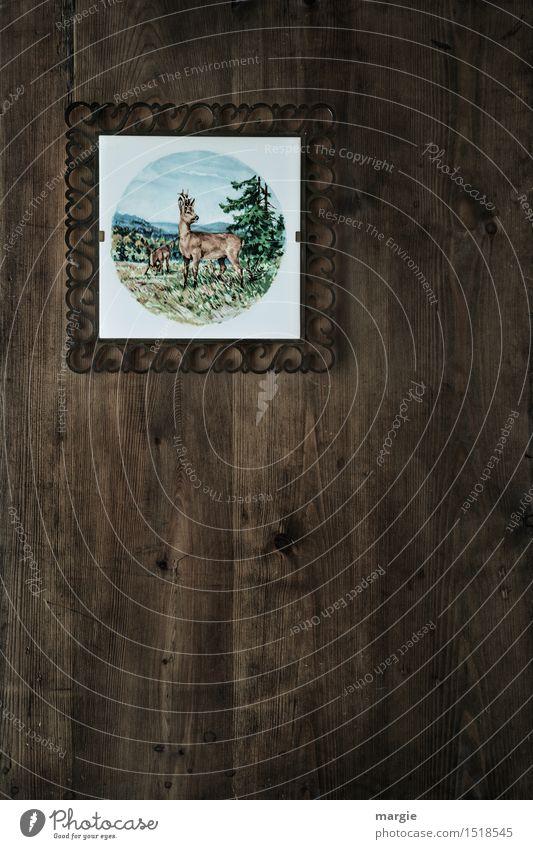 Ahnengalerie - Jagdhütte, eine Fliese mit einem Reh und Wald hängt an einer Holzwand Freizeit & Hobby Ferien & Urlaub & Reisen Berge u. Gebirge wandern