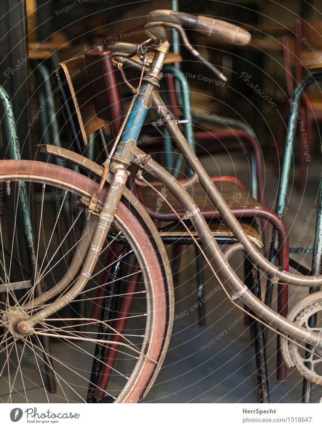Blickfang Stuhl Fahrrad Holz Metall alt ästhetisch retro schön blau braun grau Damenfahrrad Fahrradlenker Fahrradrahmen Dekoration & Verzierung parken Farbfoto
