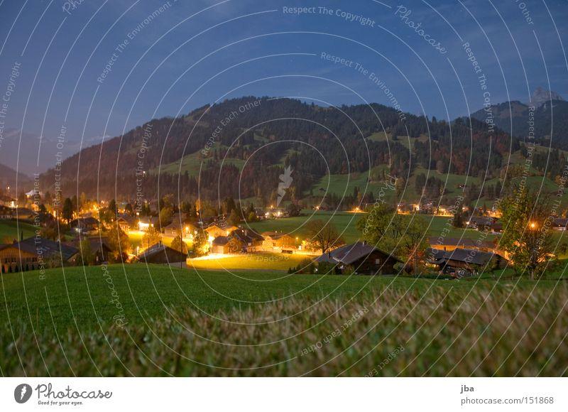 spät abends 3rd Nacht Abend Mondschein Vollmond Schatten Wiese Aussicht Baum Berge u. Gebirge Licht Berghang Gras Lampe Beleuchtung Stimmung Langzeitbelichtung