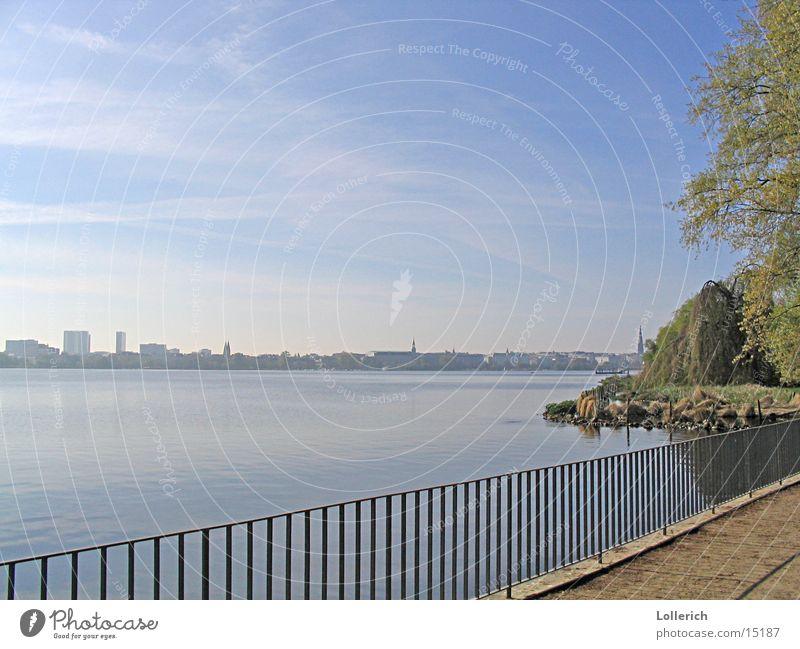 Alster Natur Wasser Küste Hamburg Geländer