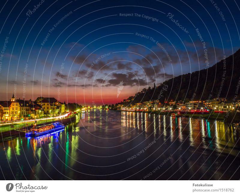 Der Neckar in Heidelberg zur blauen Stunde Lifestyle Stil Ferien & Urlaub & Reisen Tourismus Ausflug Sightseeing Städtereise Nachtleben Kunst Kultur Stadt