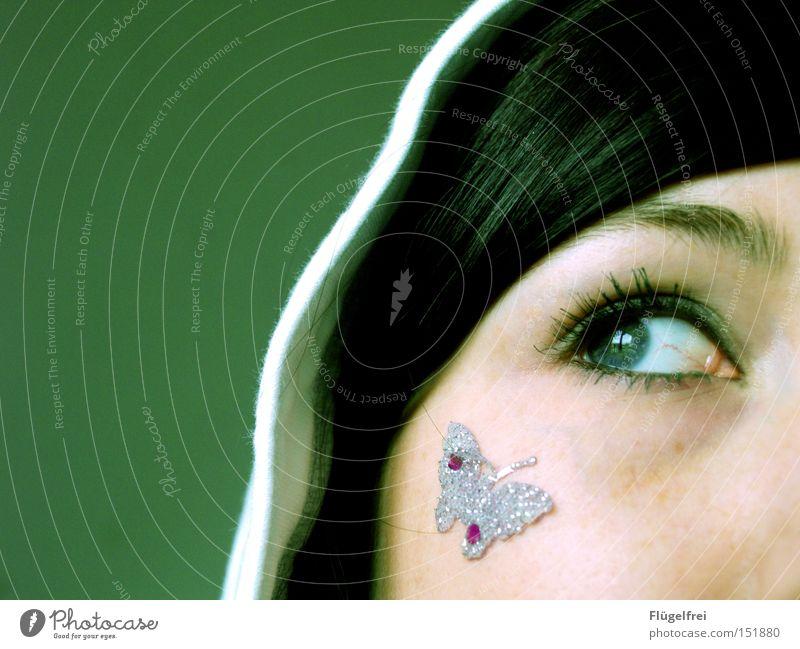 Sommersehnsucht schön Haare & Frisuren Gesicht Frau Erwachsene Auge Schmuck Schmetterling träumen grün Sehnsucht Kapuze vermissen nachdenken Teilung Kontrast