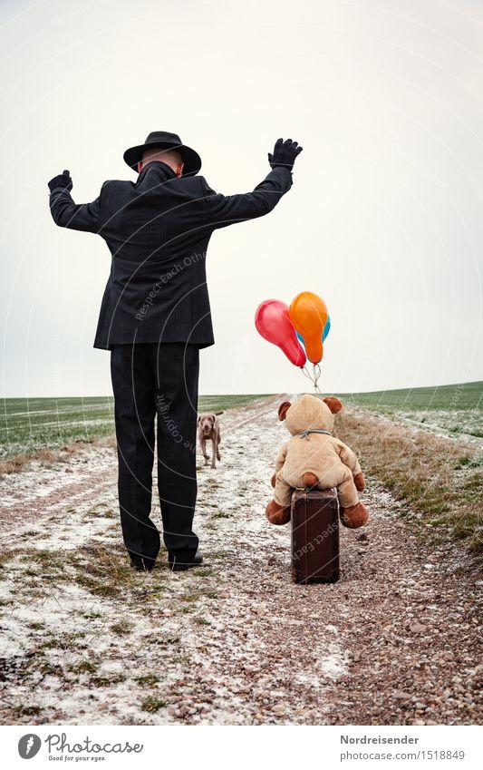 Ankunft.... Ruhestand Feierabend Mensch Mann Erwachsene Leben Landschaft Winter Feld Straße Wege & Pfade Anzug Hut Tier Hund Teddybär Stofftiere Luftballon