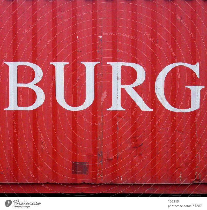 BURG Hamburg rot Container Buchstaben Hafen ham Schriftzeichen Metall verschiffen Burg oder Schloss
