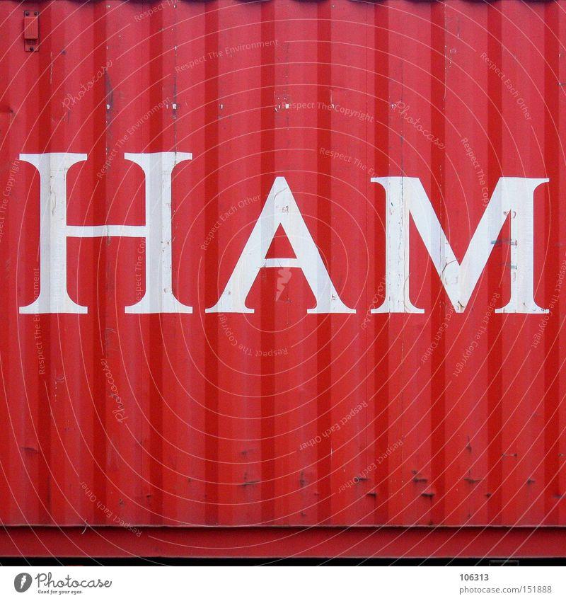 HAM Hamburg rot Container Buchstaben Hafen ham Schriftzeichen Metall verschiffen zusammensetzen Burg oder Schloss