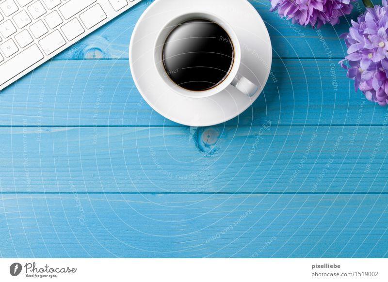 Kaffeepause blau Blume Erholung Holz Business Arbeit & Erwerbstätigkeit Wohnung Büro Technik & Technologie Tisch Computer lernen Getränk Studium Kaffee Bildung