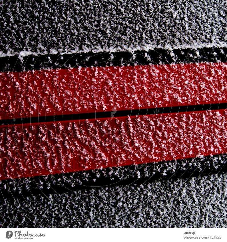 Geometrie [winter edition] weiß rot Winter schwarz kalt Schnee Eis Linie Metall Frost Streifen obskur Grafik u. Illustration sehr wenige