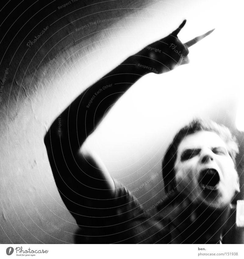 Riot Lautstärke Krach Kraft rebellieren Aufstand Revolution Spannung Körperhaltung Gefühle 1 Mensch einzeln Ein Mann allein Ein junger erwachsener Mann