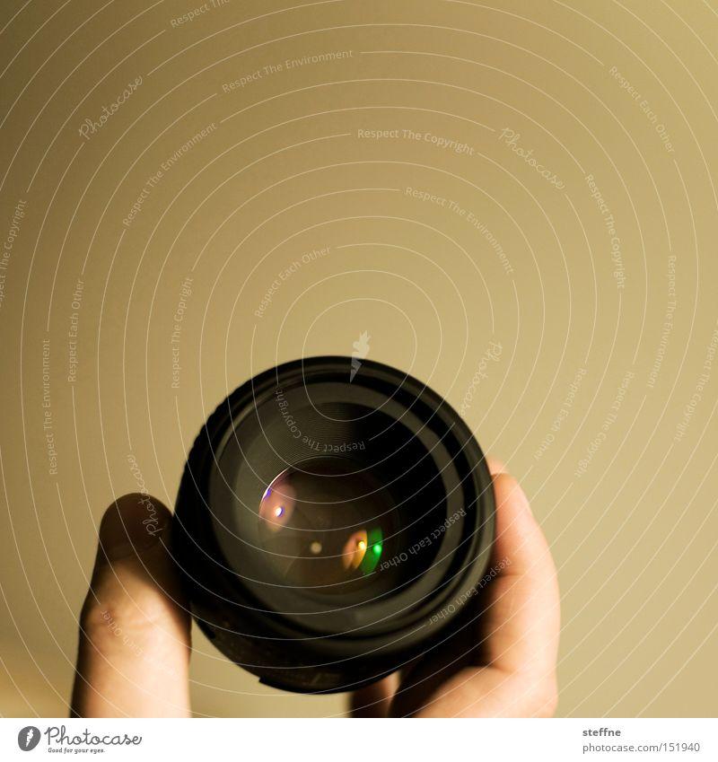 subjektiv Objektiv Hand Reflexion & Spiegelung Linse Scherbe Freizeit & Hobby Fototechnik festbrennweite 50mm lichtstark