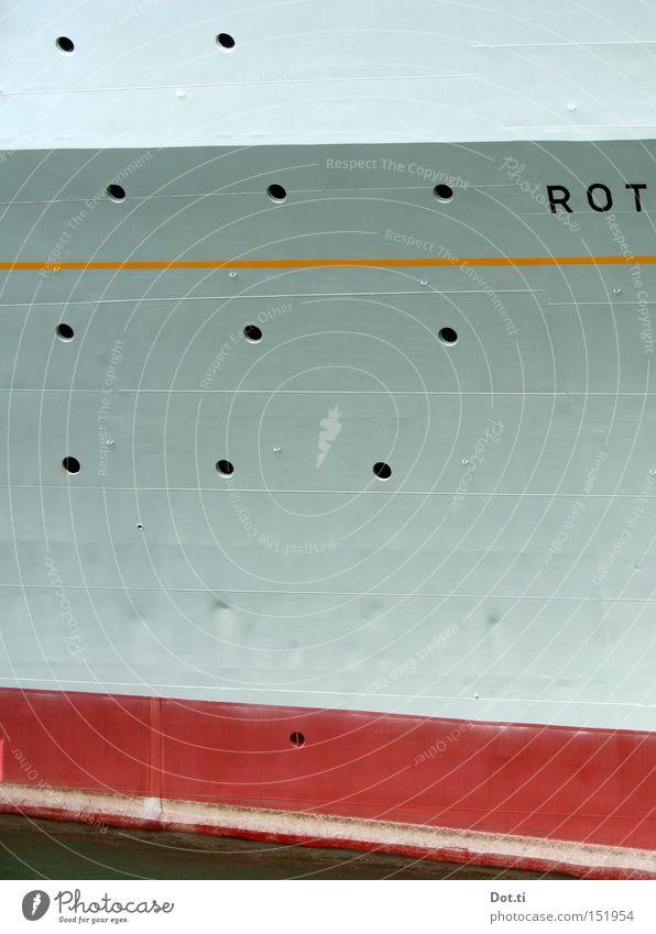 MS ROT Ferien & Urlaub & Reisen Kreuzfahrt Wasser Schifffahrt Passagierschiff Wasserfahrzeug Bullauge Metall Stahl Schriftzeichen Linie hoch grau rot Buchstaben