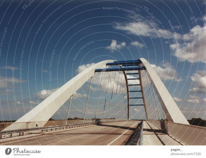 elbebrück Himmel blau Straße Architektur Brücke Elbe Fluss