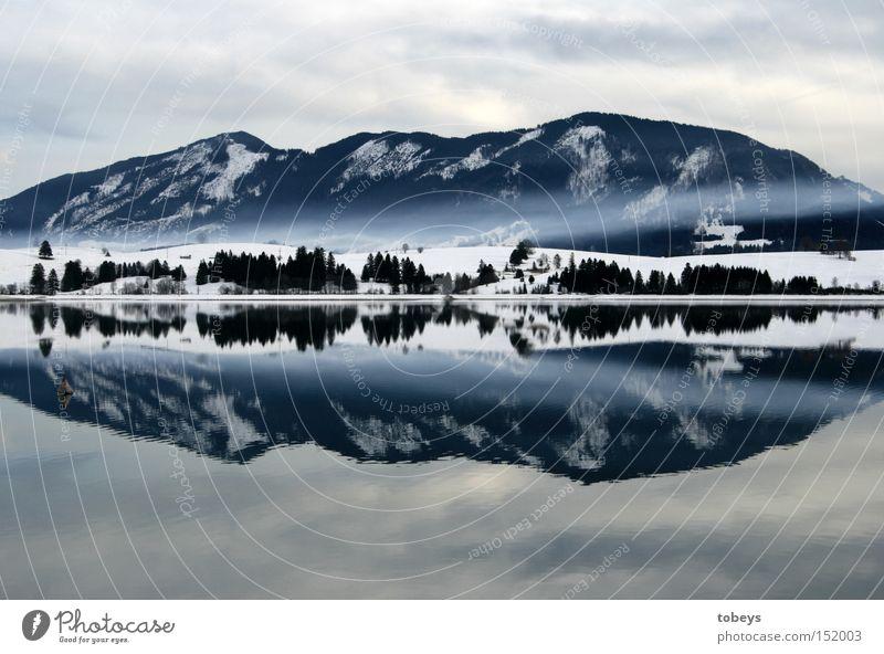 King Luis bathe Winter Berge u. Gebirge Nebel Alpen See Rauch kalt Allgäu Schloß Neuschwanstein mystisch Bergkette Landkreis Oberallgäu Forgensee Reflektion