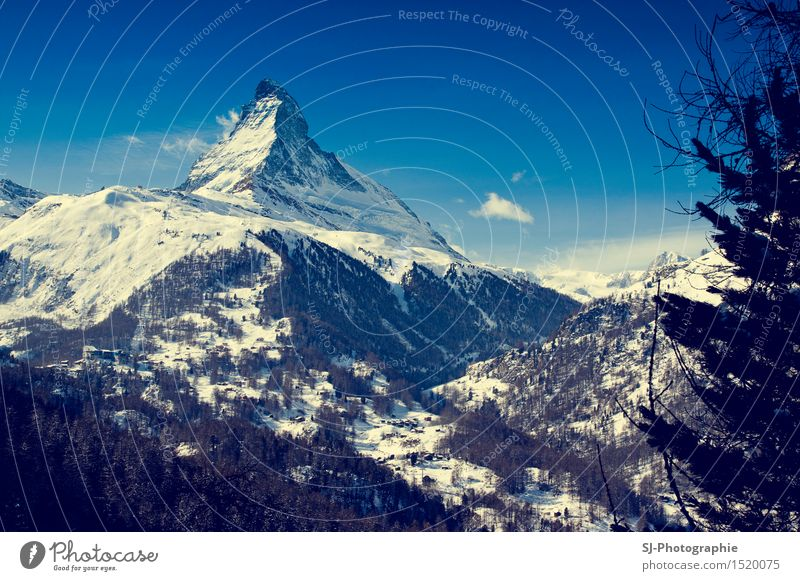 Matterhorn Schweiz Natur blau weiß Baum Sonne Landschaft Winter Wald schwarz Berge u. Gebirge Schnee Feld Eis wandern genießen Europa