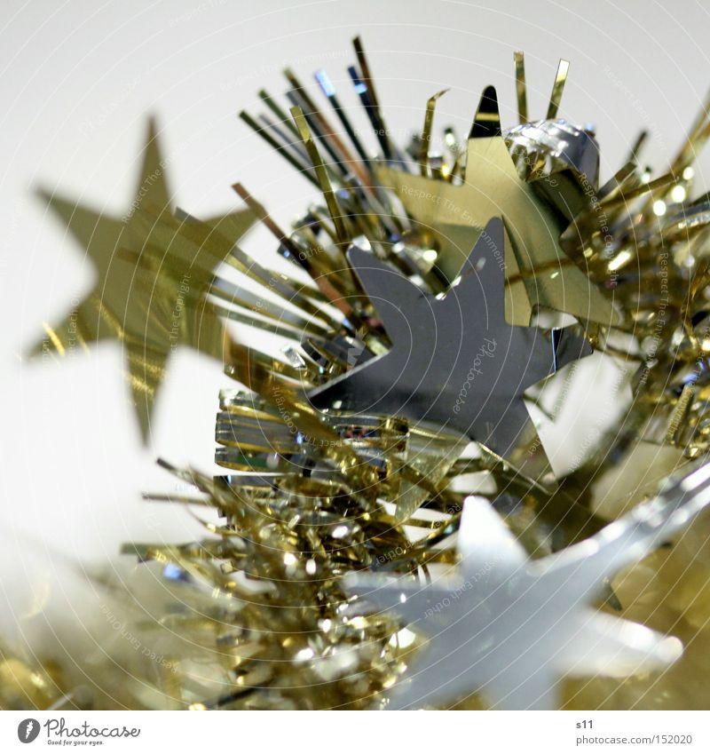 Sternchen III Dekoration & Verzierung glänzend gold silber schimmern Stern von Bethlehem Stern (Symbol) Nahaufnahme Makroaufnahme Menschenleer